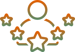 Person icon with five stars