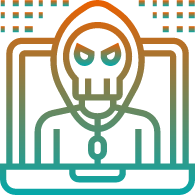 A hacker in a hoodie inside a computer screen