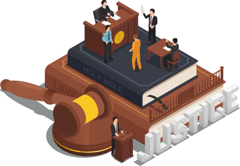 A court proceding on top of some books and a big gavel