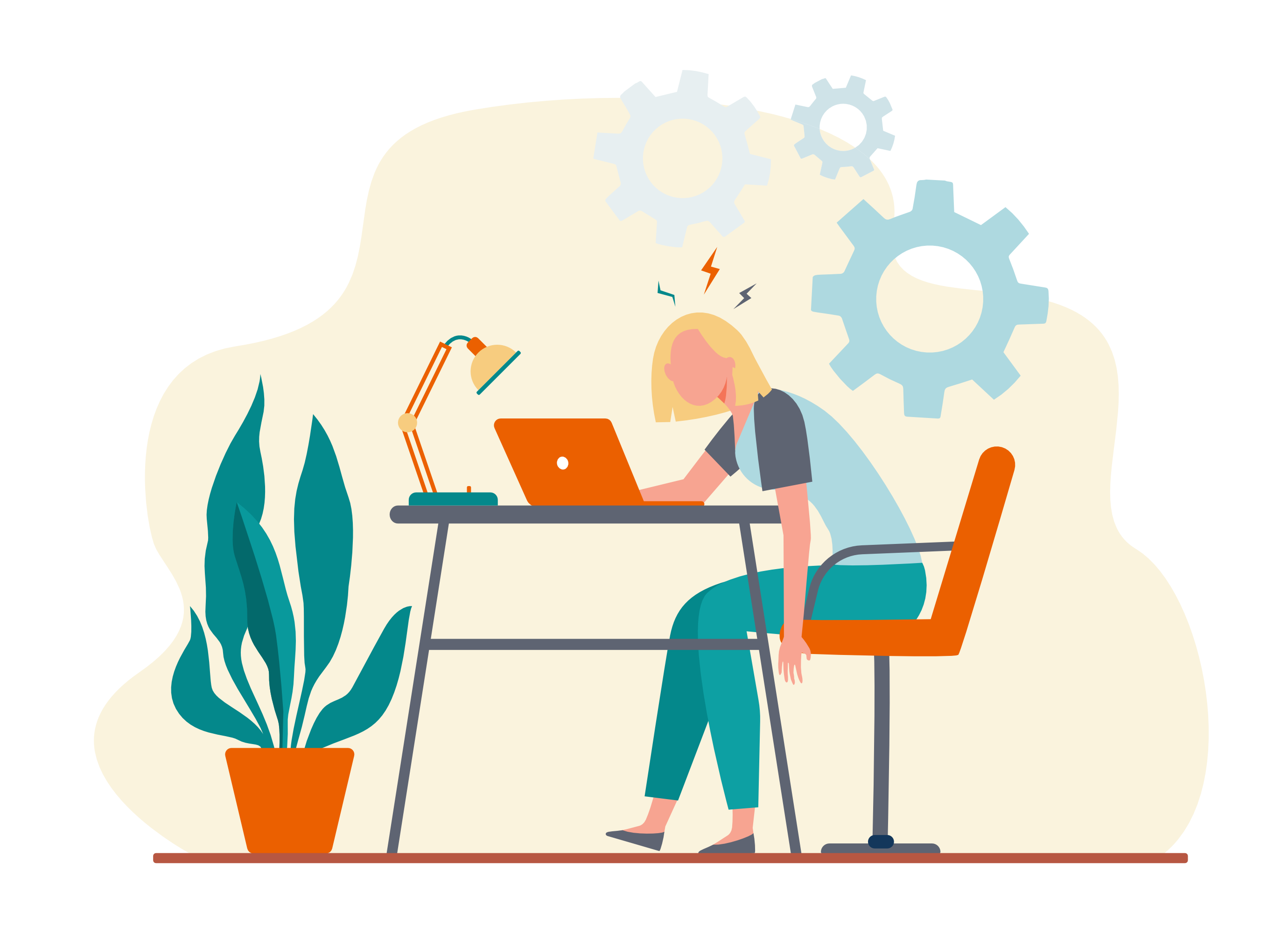 Woman sitting at a desk, exhausted trying to build a website